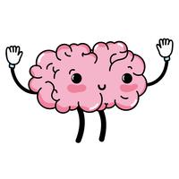 kawaii söt glad hjärna med armar och ben vektor
