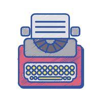 retro skrivmaskinutrustning med affärsdokument vektor