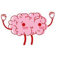 Kawaii süß glücklich Gehirn mit Armen und Beinen vektor