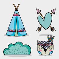 Set niedlichen Tier Tribal im Wald vektor