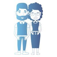 line avatar par med frisyr och kläder