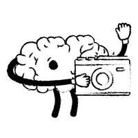 figur kawaii lycklig hjärna med digital kamera vektor