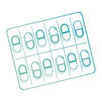 Linie medizinische pharmazeutische Pillenbehandlung vektor