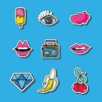 uppsättning mode pop art lappar design