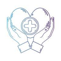 Linie Hände mit Herzmedizinsymbol, zum der Leute zu helfen vektor