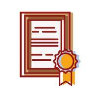Abschlusszeugnis mit Holzrahmen-Design vektor