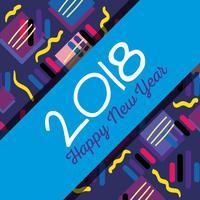Frohes neues Jahr über Farbe Backgroun Design vektor