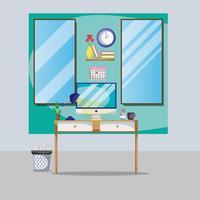 Büro-Wohnung mit Schreibtisch und Arbeitszubehör vektor