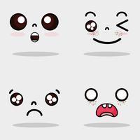 ställa in kawaii söta ansikten uttryck vektor