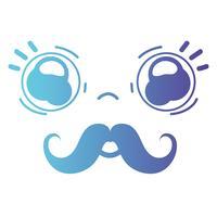 line kawaii söt öm ansikte med mustasch vektor