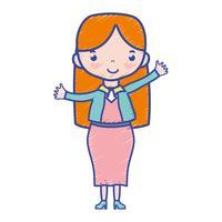 Frau mit Frisur und elegantem Kleidungsdesign