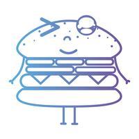 line kawaii söt glad hamburgare fastfood vektor