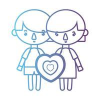 Linie Kinder zusammen mit Herzdesign vektor