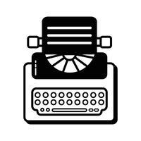 kontur retro skrivmaskinutrustning med affärsdokument vektor