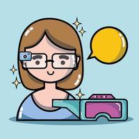 Mädchen mit 3D-Brille Technologie zur virtuellen Realität