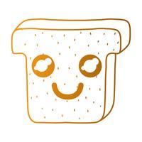 line kawaii söt lycklig skiva bröd