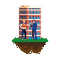 par byggare konstruktörer arbetare med byggnad