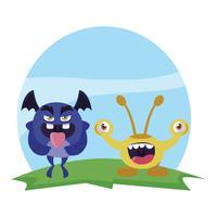 lustige Monsterpaare in den Feldcharakteren bunt