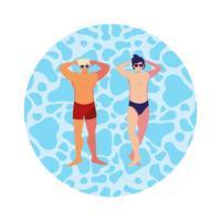 junge Männer mit Badeanzug im Wasser schweben vektor
