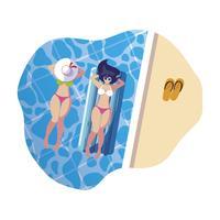 vackra flickor med flottörmadrass som flyter i vatten vektor