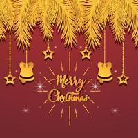 goldene Tannenzweige mit hängenden Ornamenten