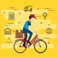 Lieferarbeiter in Fahrrad Charakter vektor