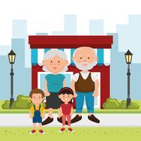 Morföräldrar och barn i parken
