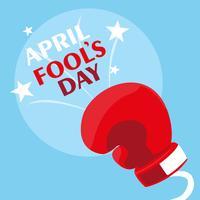 April dårar dag med boxningshandske på våren vektor