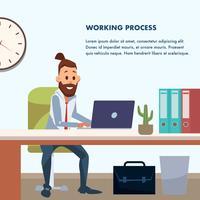 Casual BusinessMan som arbetar på kontorsskrivbordet vektor