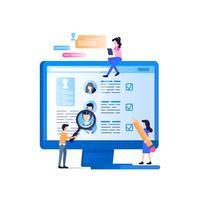 Social Media Rekrutenüberwachung auf Laptop-Bildschirm vektor