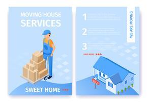 Illustrations-gesetztes bewegliches Haus hält süßes Haus instand vektor
