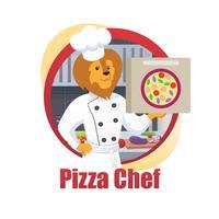 Tecknad pizzakock Lion King Hold Pizza Box i tass vektor