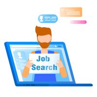 Mann, der Job Search Plaque hält