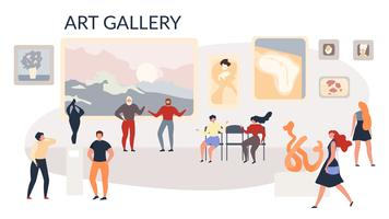 Art Gallery Utställning målningar och skulpturer vektor