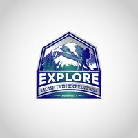 berg utforska logotypen vektor