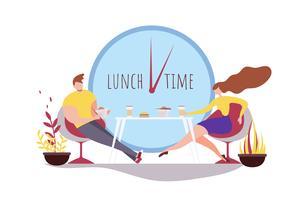 Tecknad mankvinna som tillsammans äter lunchtidskafé