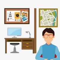 Affärskontor och arbetare