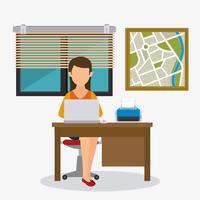 Affärskontor och mänsklig vektor