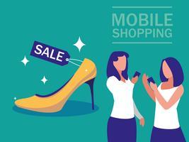 Mini-Menschen mit Smartphone und Online-Shopping