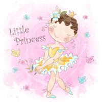 Prinsessaflicka med fåglar vektor