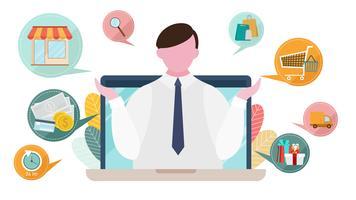 Internetreklam och marknadsföringskoncept