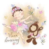 Liten ballerina flicka som dansar med en björn