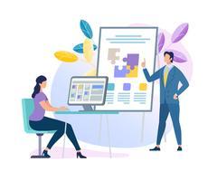 Geschäfts-Trainer Character Making Presentation vektor