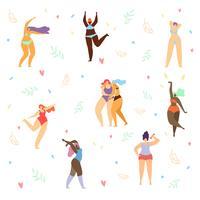 Plus Size Frauen im Bikini tanzen vektor