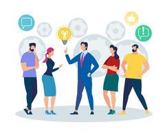 Büro-Leute-Charakter-hörender Geschäftsmann