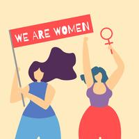 We Are Woman Inspirational Citat Flat Cartoon Card