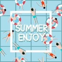 Völker schwimmen im Sommer genießen vektor