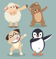 djur gör dabbing rörelseuppsättning