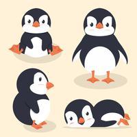 Söt liten pingvinvektoruppsättning