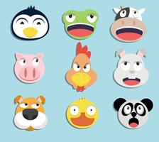 uppsättning av djur ansikten vektor